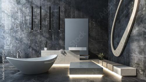 Luksusowa łazienka na poddaszu z betonu