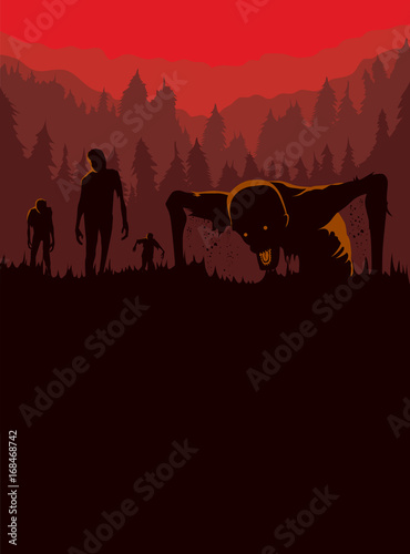 Fotografie, Obraz Silhouette of Zombies horde resurrected out of the ground