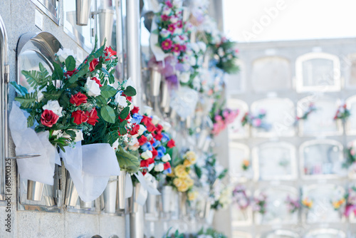 Stampa su Tela Flowers in a cemetery