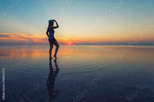 Beauty sunset on salty lake Fototapeta