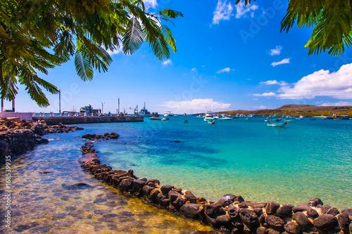 Carta da parati The bay with a dock in the Galapagos Islands