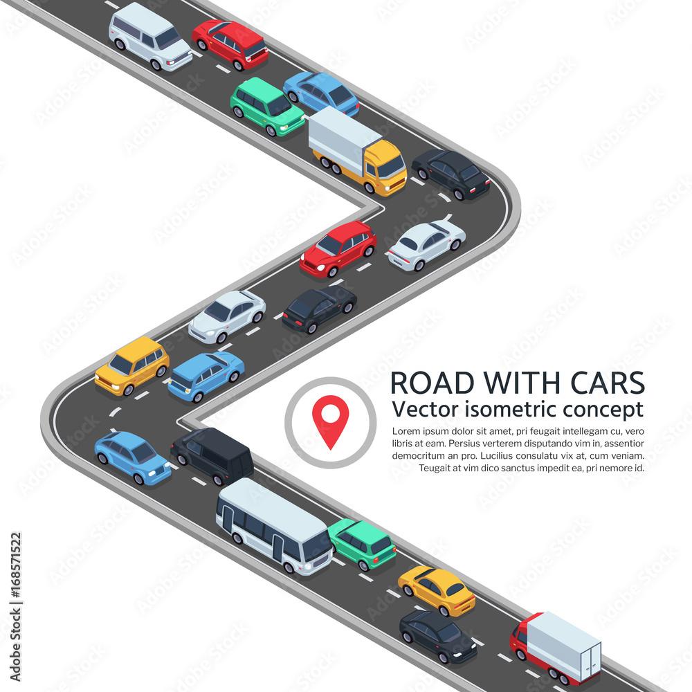 Izometryczna ulica z samochodami. 3d koncepcja autostrady i pojazdów wektorowych <span>plik: #168571522 | autor: MicroOne</span>