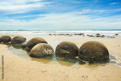 Stampa su Tela Moeraki Boulders at low tide,New zealand.
