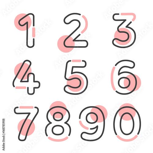 Stampa su Tela (Element) set of ten numbers form zero to nine, number flat design