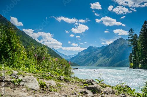 Beautiful view at Kucherla mountain lake and mountain range. Belukha national park, Altai republic, Siberia, Russia