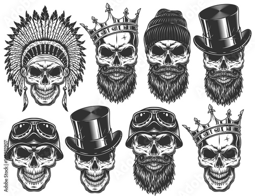 Photo Set of different skull characters with different hats and accessories