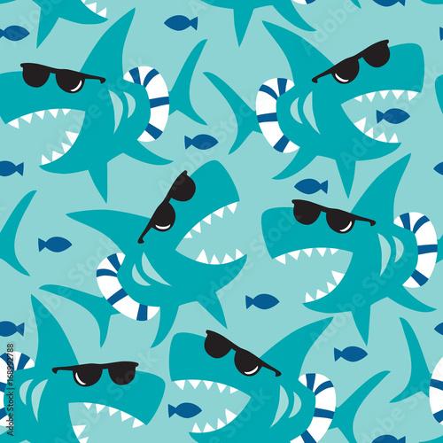 Fototapeta premium ilustracja wektorowa wzór rekina bez szwu