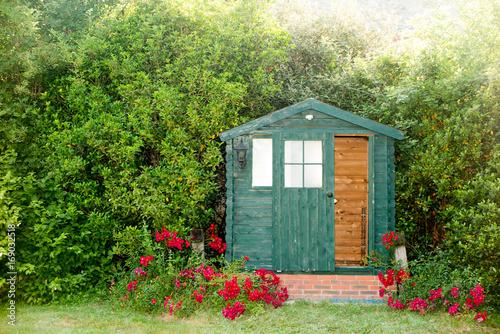 Obraz na płótnie The garden hut at the bottom of the park of the house