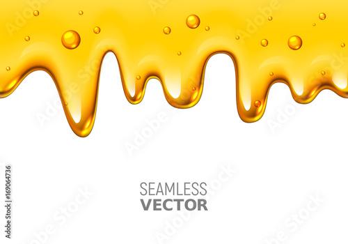 Valokuvatapetti Vector seamless dripping honey on white background