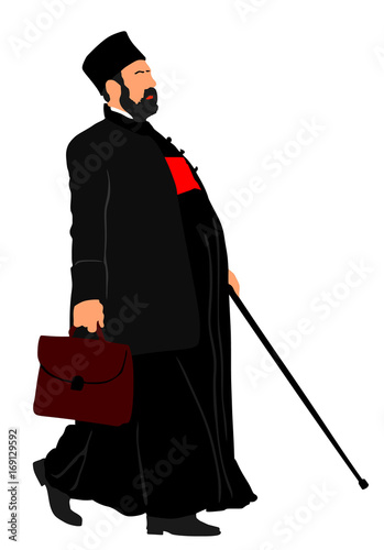 Tablou Canvas Orthodox Christian priest vector illustration isolated on white background