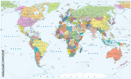 Fotografija Political World Map - borders, countries and cities