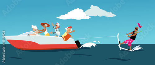 Stampa su Tela Group of active seniors riding a motorboat and water skiing, EPS 8 vector illust