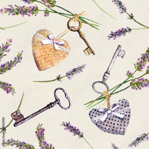 Fototapeta Vintage background - lavender flowers, aged keys, textile hearts