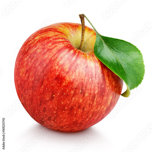 One ripe red apple fruit with green leaf isolated on white background with clipping path