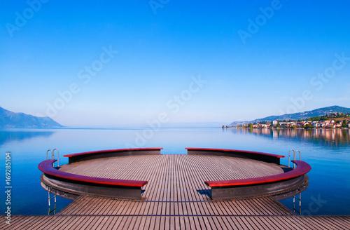Canvas Print Lake Geneva in Montreux, Switzerland