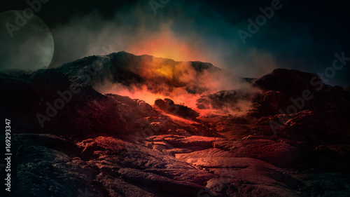 Fotografia Fantasy close up scene of active volcano with fire, ice and smoke on the top