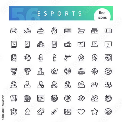Canvas Print Esports Line Icons Set