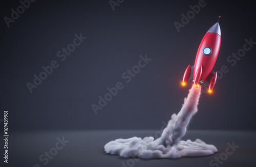 Photo Red rocket launching
