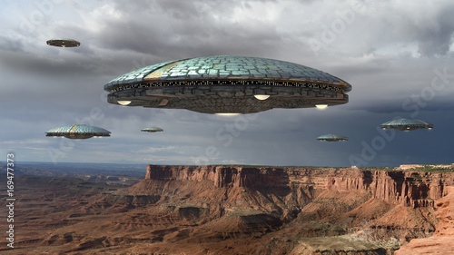 Canvas Print Alien spaceship fleet above the Grand Canyon, in Canyonlands, Utah, USA, for futuristic, fantasy and interstellar travel or war game backgrounds