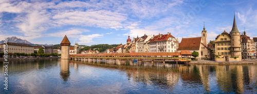 Stampa su Tela Lucerne panorama city skyline and Chapel Bridge, Lucerne (Luzern), Switzerland