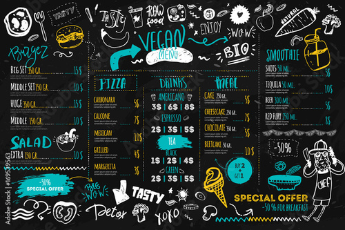 Stampa su Tela Vegan menu with hipster chef, doodle organic food and lettering
