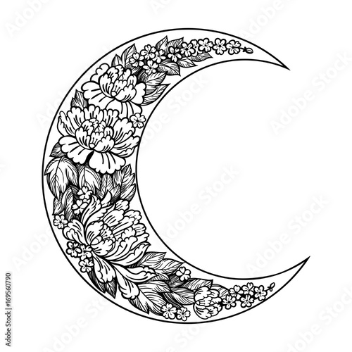 Leinwand Poster Beautiful romantic crescent moon with rose or peony flowers.