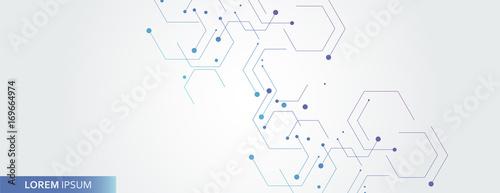Vector banner design, white background with hexagon pattern