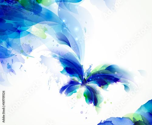 Abstrakcjonistyczny latający motyl z błękitnymi i cyan kleksami