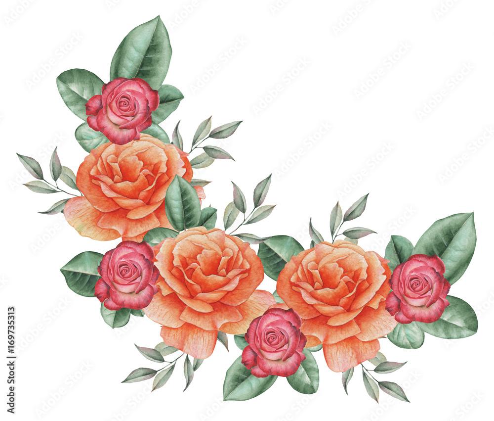 Ręcznie malowane akwarela czarujący połączenie kwiatów i liści, na białym tle <span>plik: #169735313 | autor: SquirrelStudio</span>