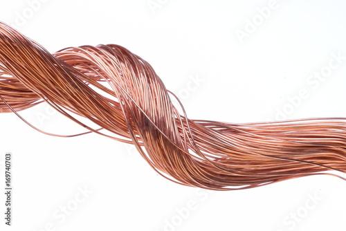 Copper wire isolated on white background Tapéta, Fotótapéta