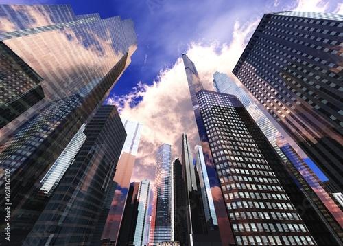Piękny widok na wieżowce, nowoczesny krajobraz miasta