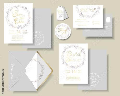 Set of botanical leaves wreath wedding invitation card Fototapeta