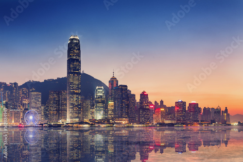 Canvas Print Hong Kong City Skyscraper Buildings and Business Financial District Central, Landmark Harbor View of Hong Kong City Skyline and Skyscrapers Cityscape Downtown at Sunset