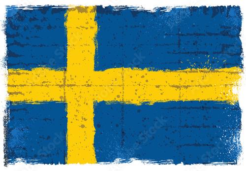 Wallpaper Mural Grunge elements with flag of Sweden.