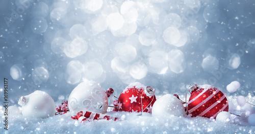 Fototapeta Winter decorations with sparkling snow