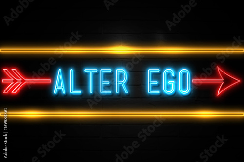 Fotografie, Obraz Alter Ego  - fluorescent Neon Sign on brickwall Front view