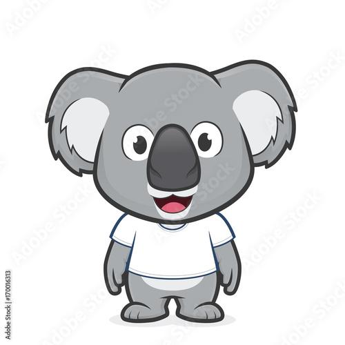 Fototapeta premium Koala wearing white t shirt