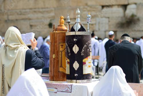 Fototapeta JERUSALEM, ISRAEL - APRIL 2017:  Jewish man celebrate Simchat Torah
