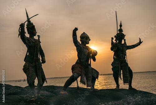 Khon is traditional dance drama art of Thai classical masked from Ramayana epic Fototapeta