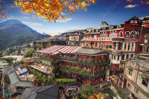Fototapeta premium Jiufen, Tajpej, Tajwan. Znaczenie chińskiego tekstu na zdjęciu to czerwony glob Jiufen