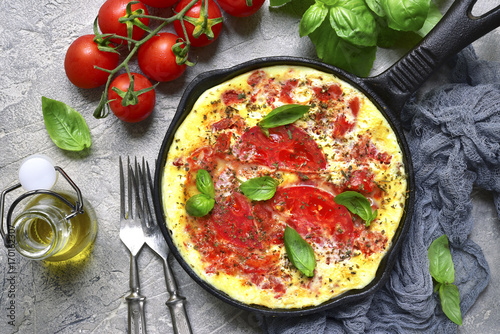 Omelet with tomato.Top view.