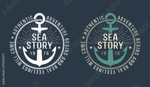 Tela Marine round retro emblem in hipster style with anchor and inscriptions