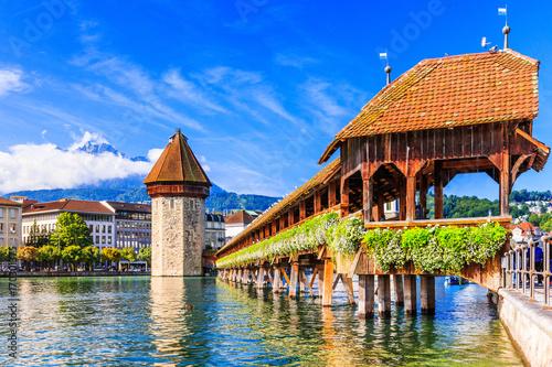 Stampa su Tela Lucerne, Switzerland. Chapel bridge.