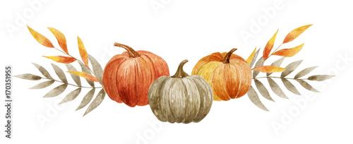 Canvas Print Pumpkin set on the white background