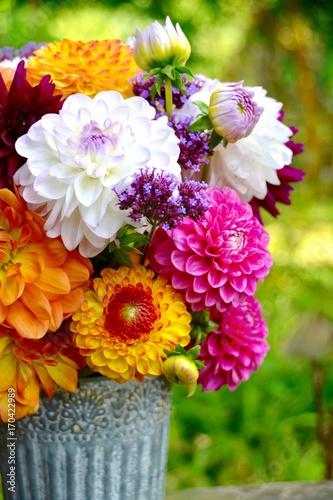 Grußkarte - Dahlien Blumenstrauß