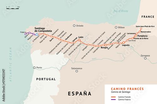 Carta da parati French Way map