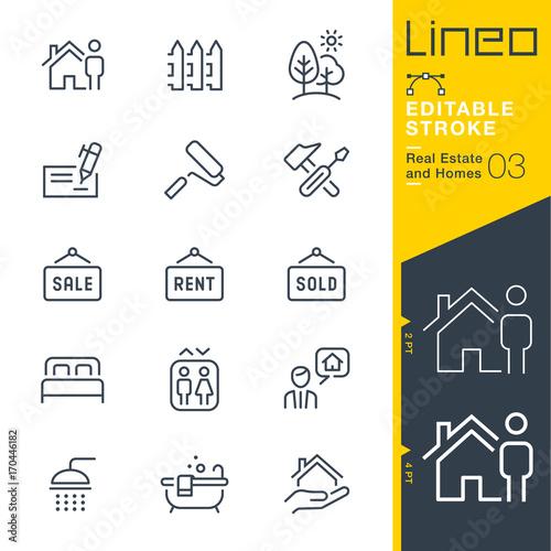 Slika na platnu Lineo Editable Stroke - Real Estate and Homes line icons