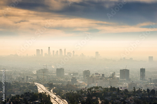 Obraz na płótnie Smoggy morning sunrise overlooking downtown Los Angeles from Hollywood Hills
