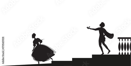 Foto Cinderella runs out from ball and looses her shoe,