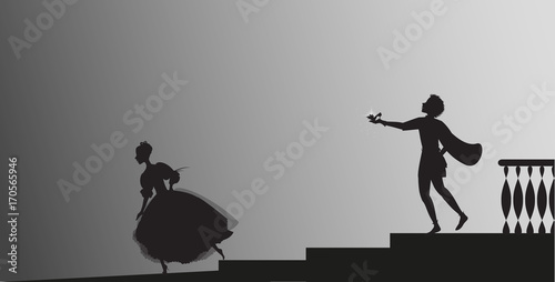 Cinderella runs out from ball and looses her shoe, Fototapet